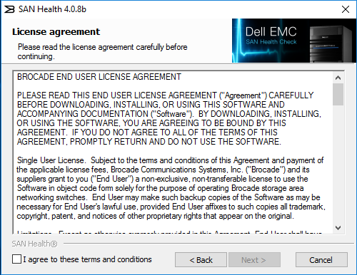 Download and run the Dell EMC SAN Health Utility – Live